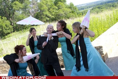 bridesmaids,funny wedding photos,groom,parasol