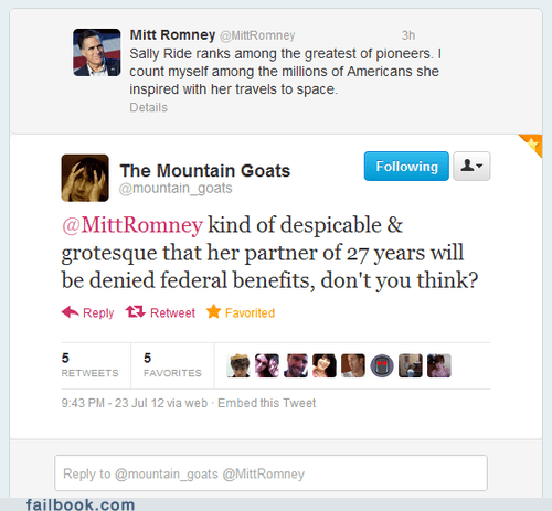 failbook g rated gay LGBT Mitt Romney mountain goats sally ride the mountain goats tweet twitter - 6453154816