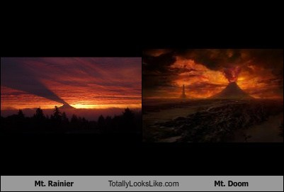 funny,geography,Lord of the Rings,mt doom,mt rainier,TLL