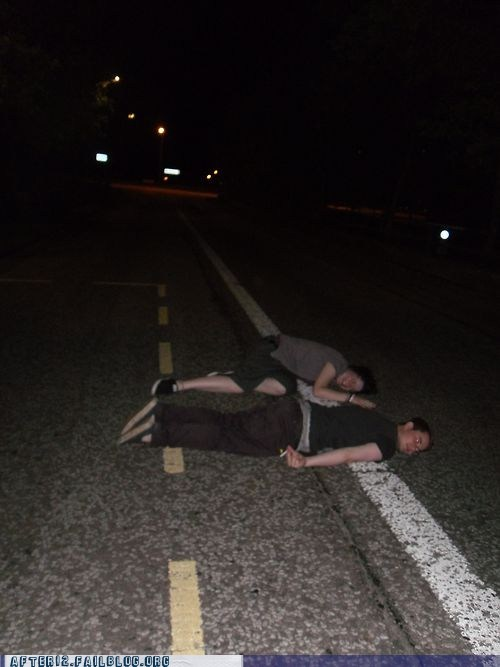 after 12,g rated,middle of the road,passed out,road