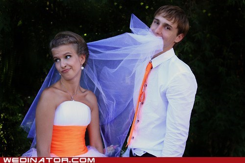 bride funny wedding photos groom veil - 6453369600