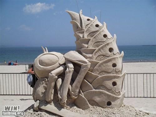beach creepy sand castle sand sculpture summer - 6453604096