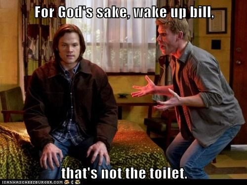 dreaming,Jared Padalecki,lucifer,mark pellegrino,pooping,sam winchester,sleeping,toilet,wake up