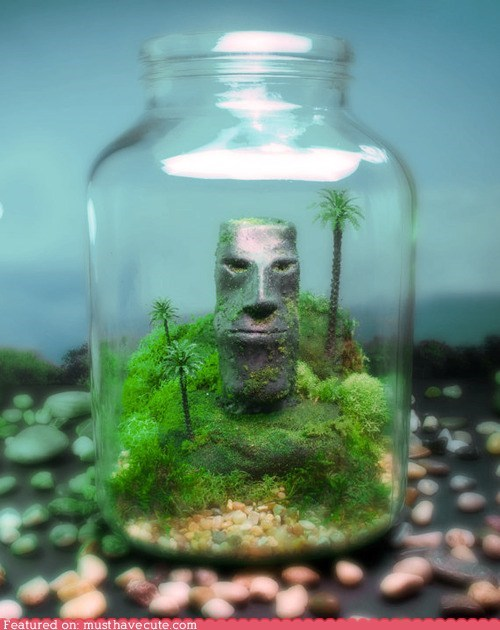 bottle,carving,head,stone,terrarium,tiki