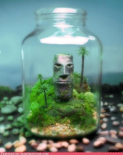 bottle carving head stone terrarium tiki - 6453657344