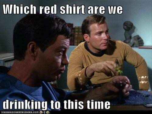Captain Kirk,DeForest Kelley,drinking,McCoy,red shirt,Shatnerday,Star Trek,tribute,William Shatner