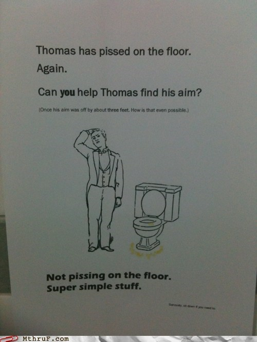 bathroom,peeing on the floor,thomas,toilet