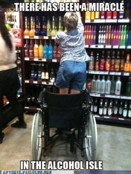 alcohol aisle,disabled,miracles,wheelchair