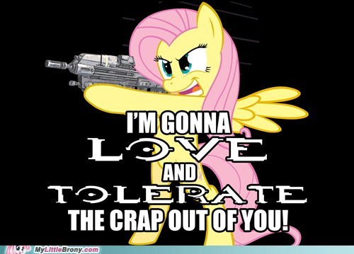 alien scumbags fluttershy halo love and tolerate meme - 6454032384