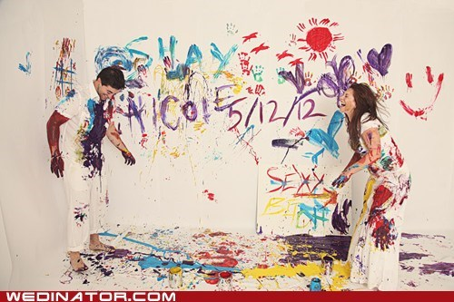 bride,finger paint,funny wedding photos,groom,paint,save the date