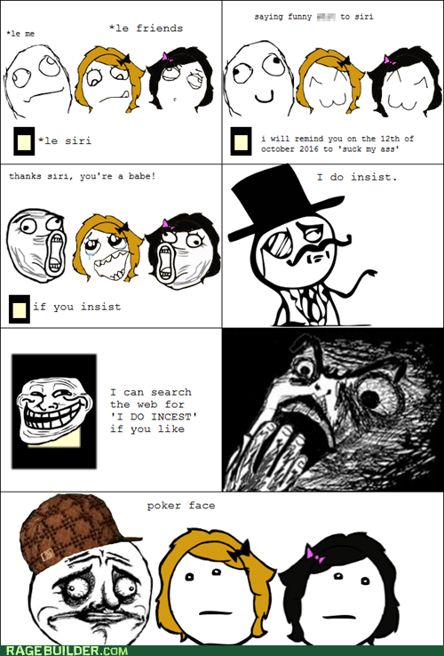 not sure if gusta,poker face,Rage Comics,raisin horror,siri,that sounds naughty
