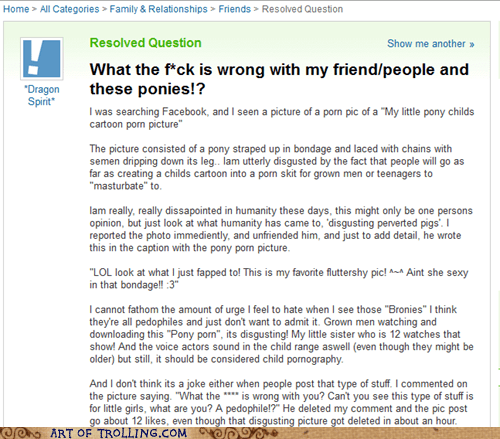 Bronies rant Rule 34 Yahoo Answer Fai Yahoo Answer Fails