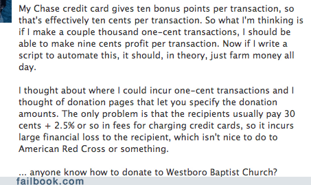 credit card failbook faith g rated money religion scam Westboro Baptist Church - 6455614464