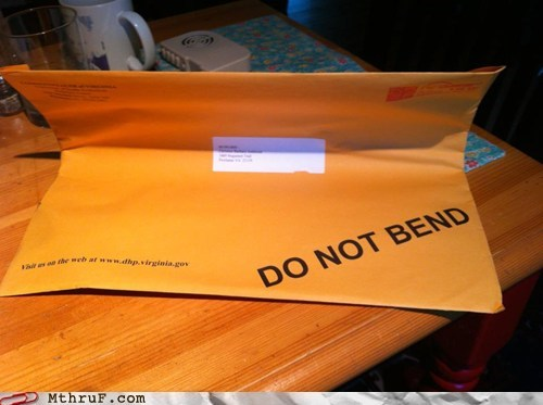 delivery do not bend envelope