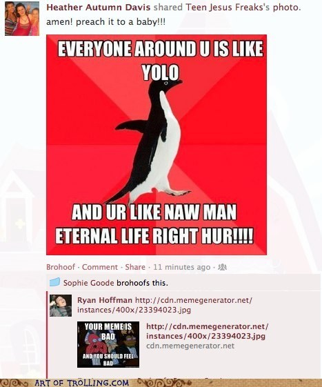 facebook jesus socially awesome penguin your meme is bad - 6455731456