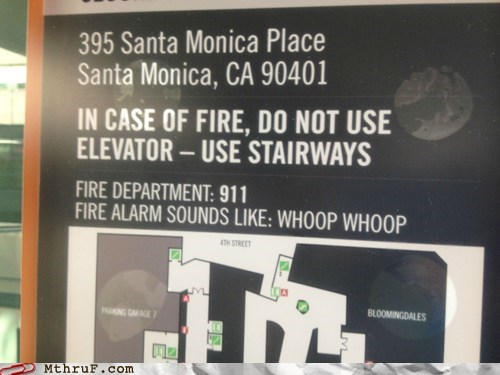 california,fire alarm,fire escape,los angeles,mall,santa monica,whoop whoop