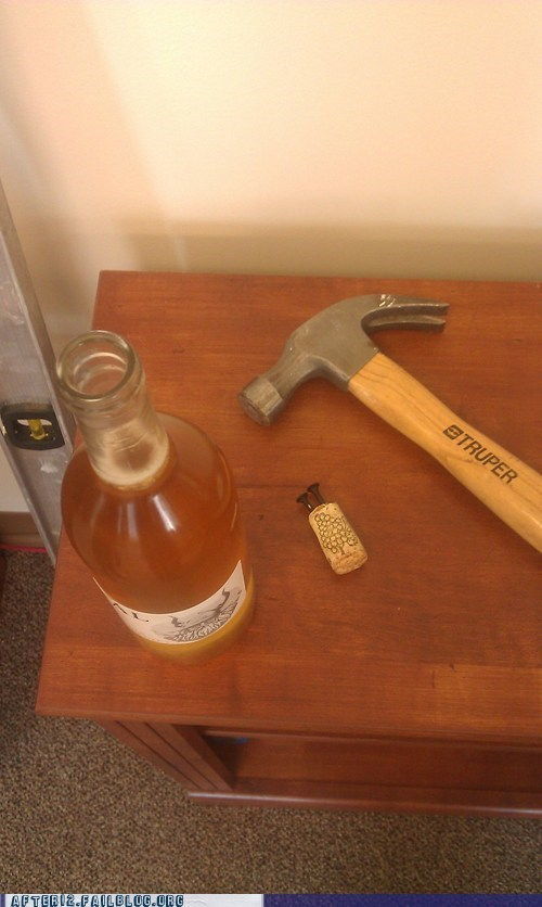 bottle opener,corkscrew,hammer,hammered,wine cork