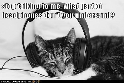 annoy,captions,Cats,ears,headphones,ignore,listen,stop,talking