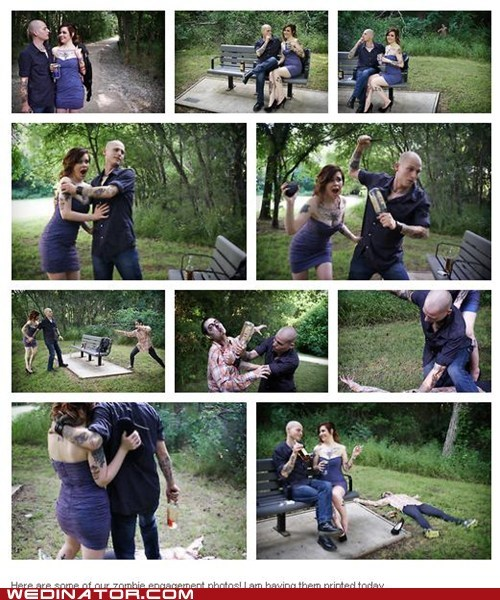 engagement photos,funny wedding photos,zombie