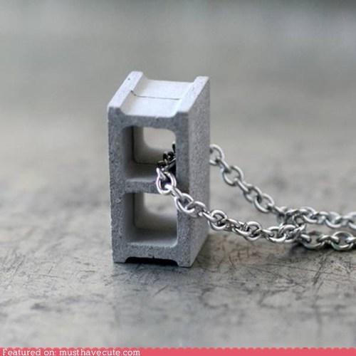 brick cinder block concrete necklace pendant - 6456309760