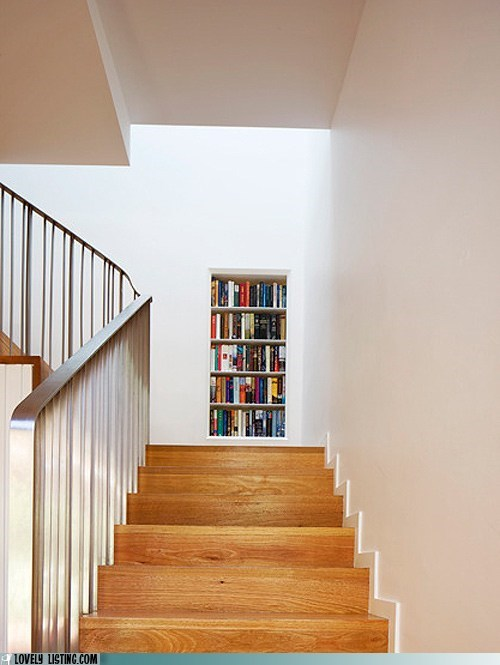 bookcase books shelves stairs