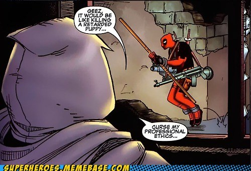 deadpool,puppy,Sad,Straight off the,Straight off the Page,wtf