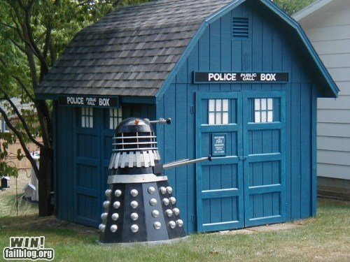 dalek,design,doctor who,nerdgasm,shed,tardis