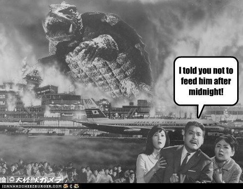 Gamera,giant,gremlins,midnight,monster,rules,turtle,warning