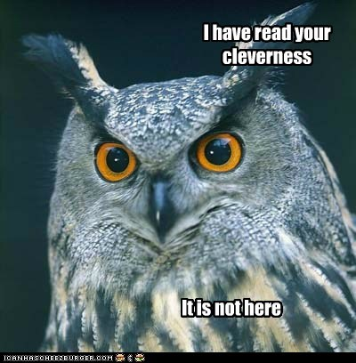 cleverness,disapproving,not funny,not here,Owl,read