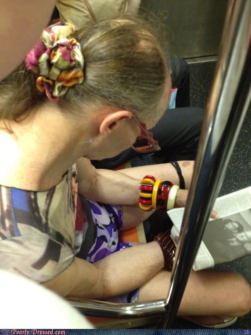 bracelet bus color vomit patterns paunch public transportation