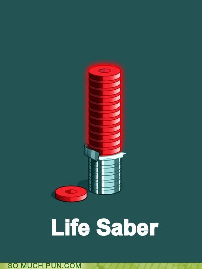 Hall of Fame life saver lightsaber saber saver shape similar sounding