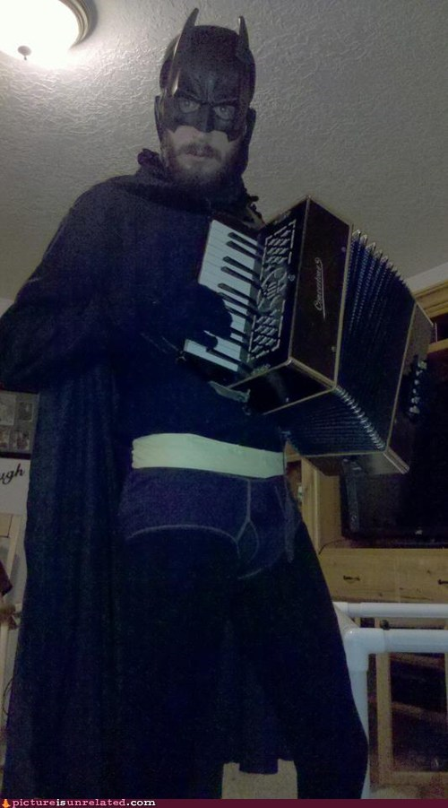 batman,talents,costume,accordian