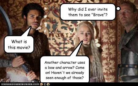 bad idea,bow and arrow,brave,Daenerys Targaryen,Emilia Clarke,Game of Thrones,Movie,ser jorah