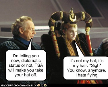 Emperor Palpatine flying hair Ian McDiarmid natalie portman padme queen amidala sigh take it off TSA - 6457455616