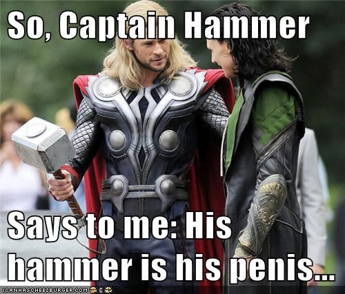 captain hammer,chris hemsworth,dr. horrible's sing-along,dr-horribles-sing-along-blog,loki,mjolnir,the hammer,Thor,tom hiddleston