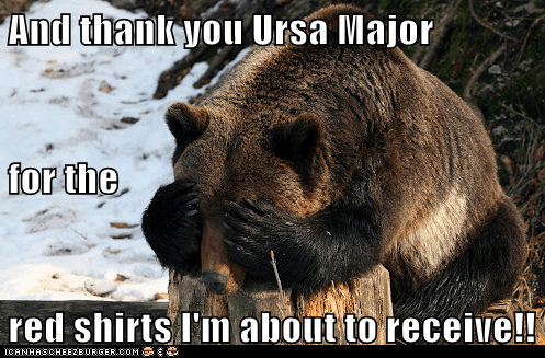 And thank you Ursa Major for the red shirts I'm about to receive!!