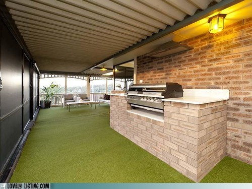 astroturf brick grill patio - 6457877504