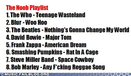 blur,bob marley,david bowie,frank zappa,playlist,smashing pumpkins,steve miller band,the Beatles,the who,titles