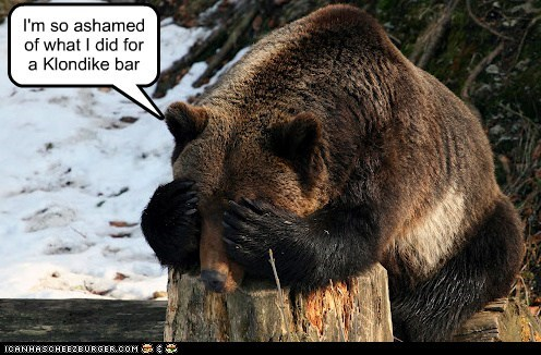 ashamed,bear,captions,eyes covered,hiding,klondike bar,Sad