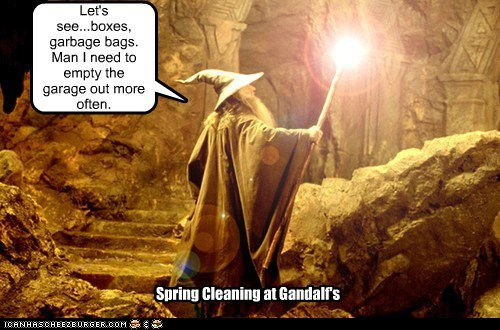 clutter,gandalf,garage,garbage bag,hoarder,ian mckellen,Lord of the Rings,spring cleaning