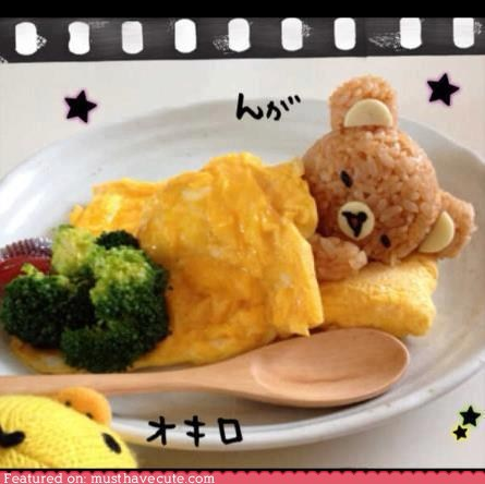 bear breakfast broccoli epicute omelette rice Rilakkuma