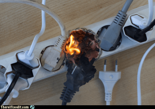 burn burned fire plug power strip - 6458771200