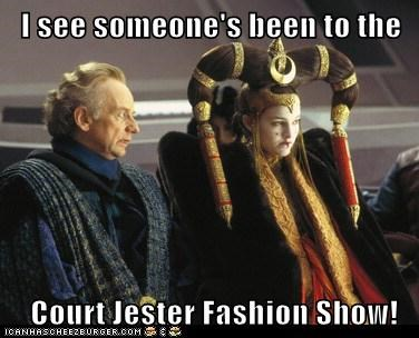 Emperor Palpatine,fashion show,Ian McDiarmid,natalie portman,queen amidala,star wars,the court jester,the phantom menace