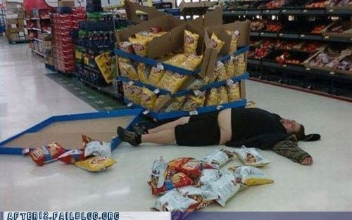 grocery store,Lays,passed out,potato chips,Walmart