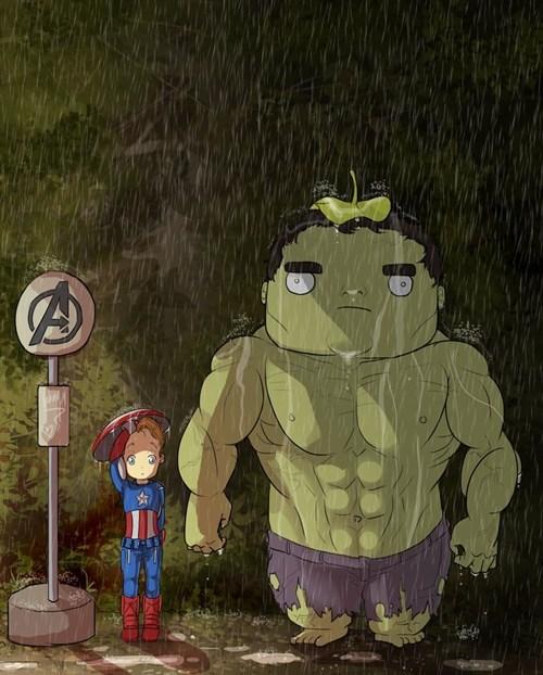 avengers bruce banner crossover Fan Art hulk my neighbor totoro - 6458986240