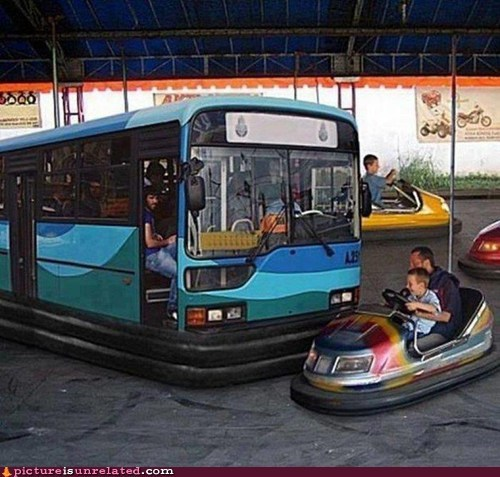 bumper cars,bus,public transit,shopped,wtf