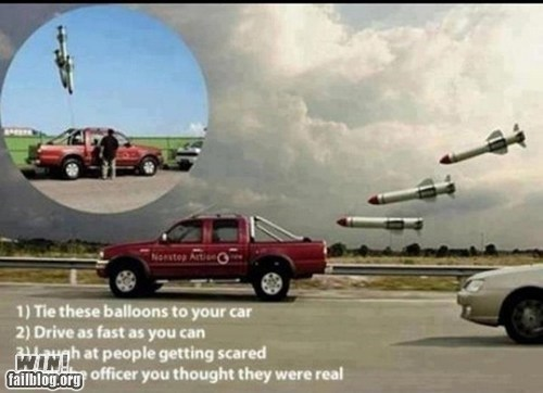 ballooons,car,clever,driving,g rated,prank,win