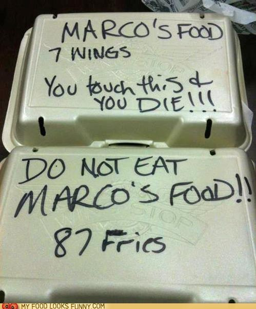 fries,leftovers,marco,shared fridge,threat,wings