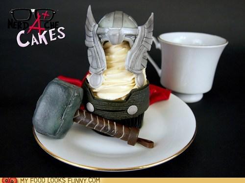 avengers,cupcake,fondant,hammer,helmet,Thor