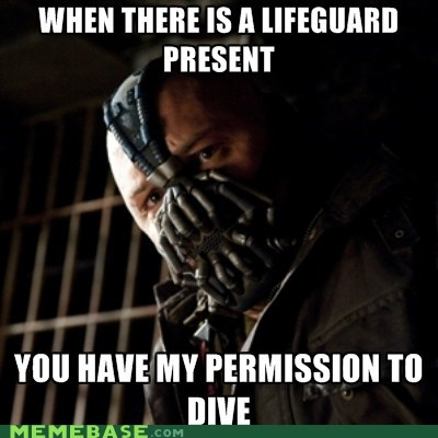 bane,Dark Knight Rises,dive,lifeguard,permission,superheroes,Super-Lols